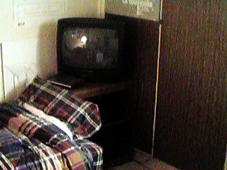 Peter's bed and my TV