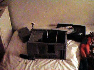 Torn apart computer in Geoff's room